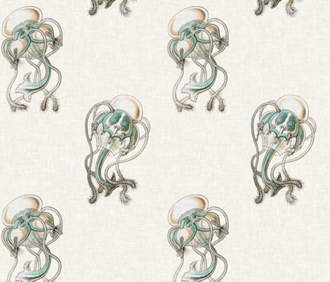 Aquamarine Jellyfish in Aquamarine and Linen fabric by willowlanetextiles on Spoonflower - custom fabric