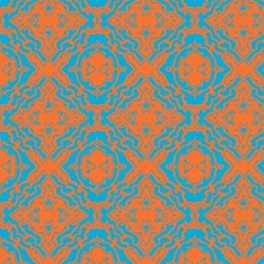 Ikat orange and aqua-ch-ed