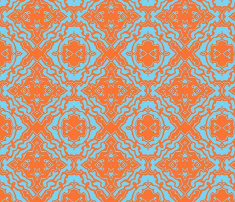 Ikat orange and aqua-ed-ed  fabric by melissamarie on Spoonflower - custom fabric