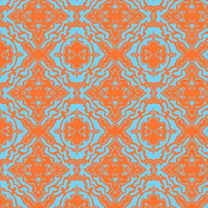Ikat orange and aqua-ed-ed