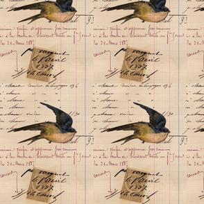 Vintage Bird and Ledger Paper