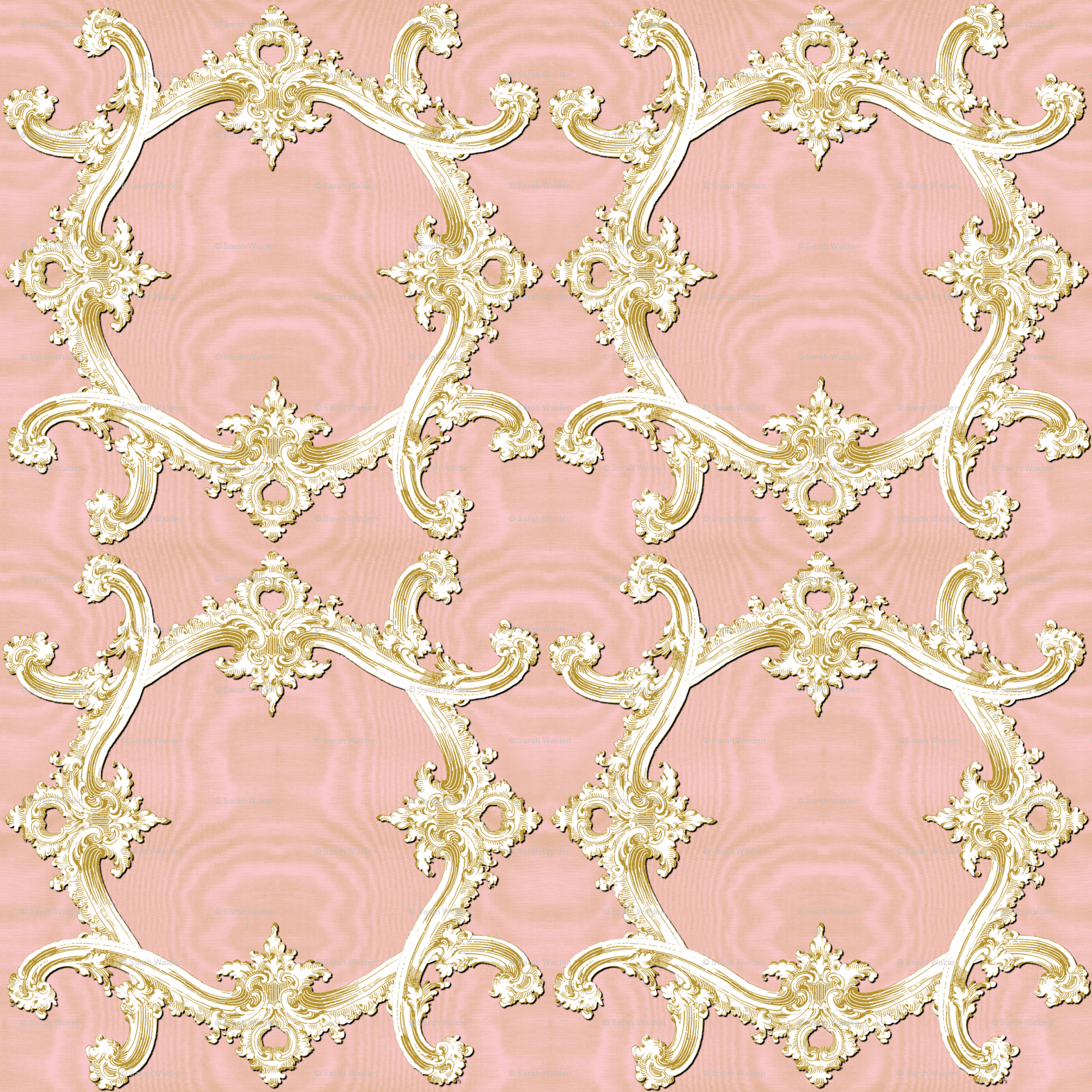 The Rococo Swag Ballet Pink Moire And Gilt Wallpaper