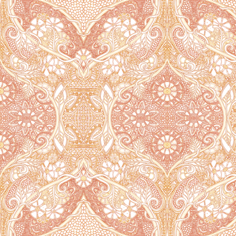 Victorian Sensibilities in a 21st Century World (peach)  fabric by edsel2084 on Spoonflower - custom fabric