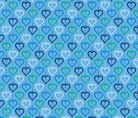 Heart Chain - Rain fabric by siya on Spoonflower - custom fabric