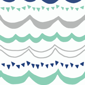 Carnival in Mint, Navy and Gray