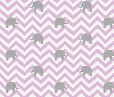 Baby Elephants on Pink Lilac Chevron fabric by willowlanetextiles on Spoonflower - custom fabric