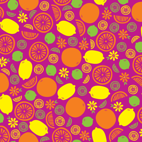 A Splash of Citrus (Pink) fabric by robyriker on Spoonflower - custom fabric