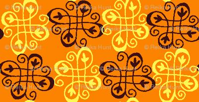 checker swirl orange
