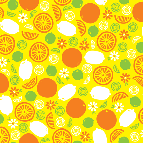 A Splash of Citrus (Yellow) fabric by robyriker on Spoonflower - custom fabric