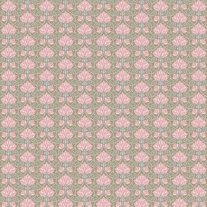 Lotus - brown, pink and blue - SMALL PATTERN