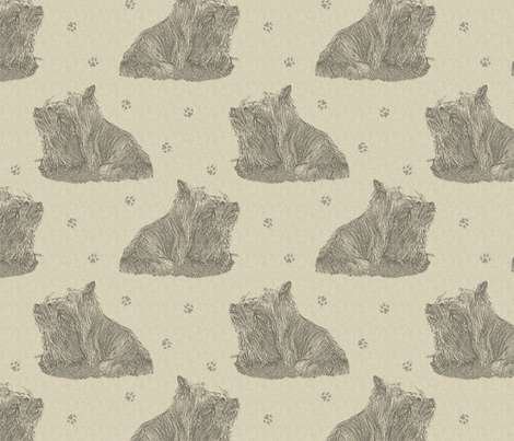 Sitting Silky terriers stamp - tan fabric by rusticcorgi on Spoonflower - custom fabric