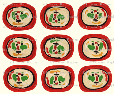 Clown Faces on Red Plates
