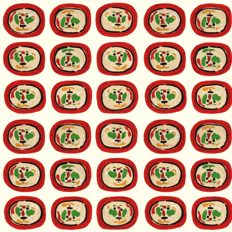 Clown Faces on Red Plates fabric by htsvik on Spoonflower - custom fabric