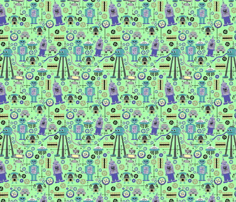 8 bit Geeky Retro Robots fabric by vinpauld on Spoonflower - custom fabric