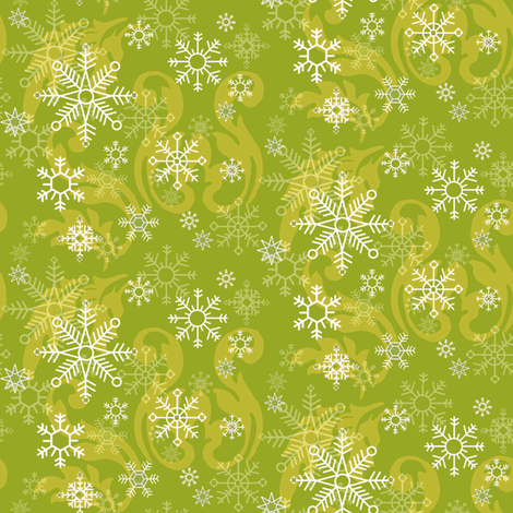 Lime_Snowflake fabric by kelly_a on Spoonflower - custom fabric