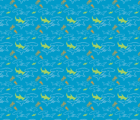 Hammerhead-aqua fabric by craftinomicon on Spoonflower - custom fabric