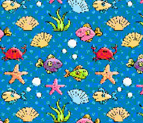 8-Bit Fish fabric by delightfuldesigns on Spoonflower - custom fabric