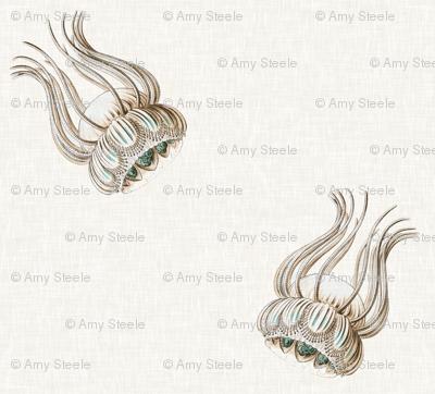 Jellyfish Cascade in Aquamarine on Linen
