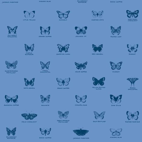 butterfly alphabet - blue twilight fabric by weavingmajor on Spoonflower - custom fabric