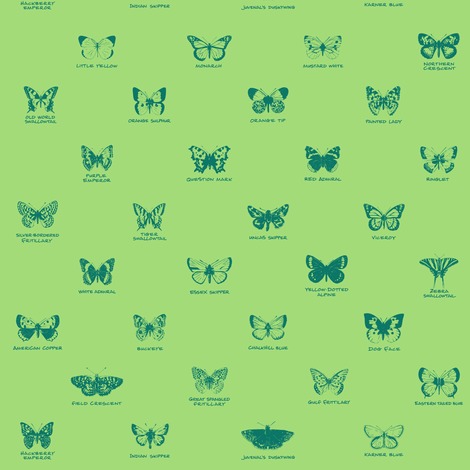 butterfly alphabet - pine fabric by weavingmajor on Spoonflower - custom fabric