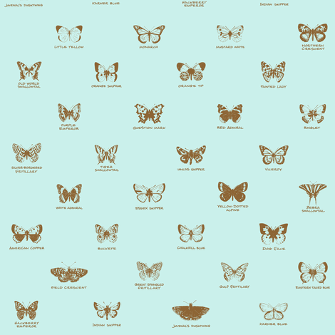 butterfly alphabet - antique blue fabric by weavingmajor on Spoonflower - custom fabric