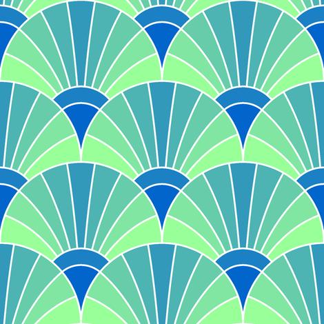 art deco fan scale : icy fabric by sef on Spoonflower - custom fabric