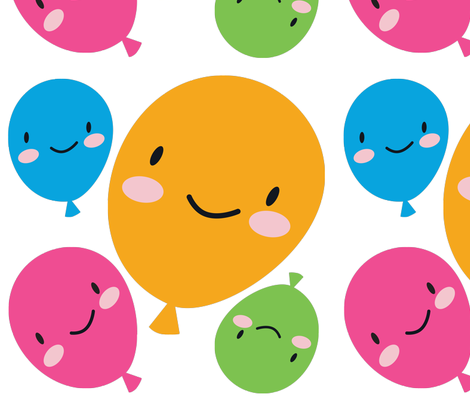 Kawaii Balloons Decals fabric by marcelinesmith on Spoonflower - custom fabric