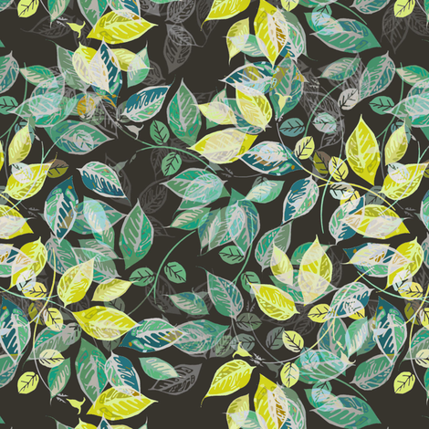 Leaves at Midnight fabric by joanmclemore on Spoonflower - custom fabric