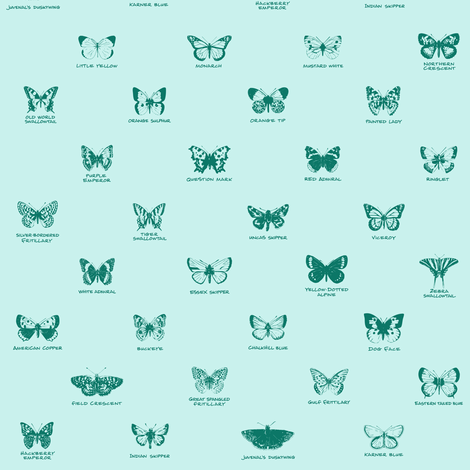 butterfly alphabet - spruce fabric by weavingmajor on Spoonflower - custom fabric
