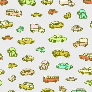 Little Retro Cars | Grey Background