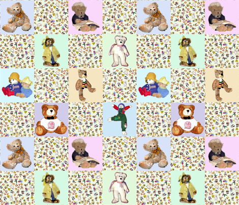 A Cheater Quilt-Vintage Bears fabric by koalalady on Spoonflower - custom fabric