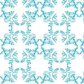hummingbird toile blue
