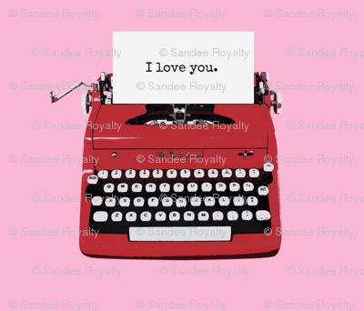 royal typewriter red on pink