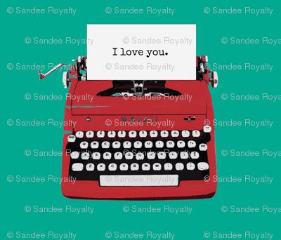 royal typewriter red on teal background
