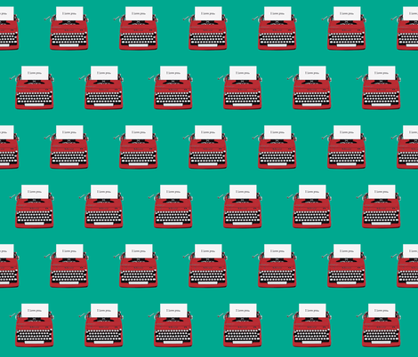 royal typewriter red on teal background fabric by sandeeroyalty on Spoonflower - custom fabric