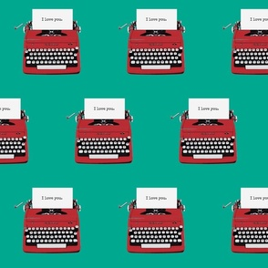 royal typewriter red on teal background