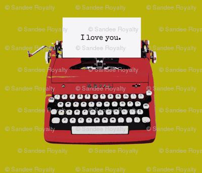 royal typewriter red on pea green background