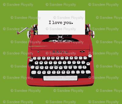 royal typewriter red on green background