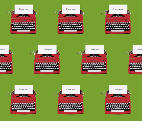 royal typewriter red on green background fabric by sandeeroyalty on Spoonflower - custom fabric