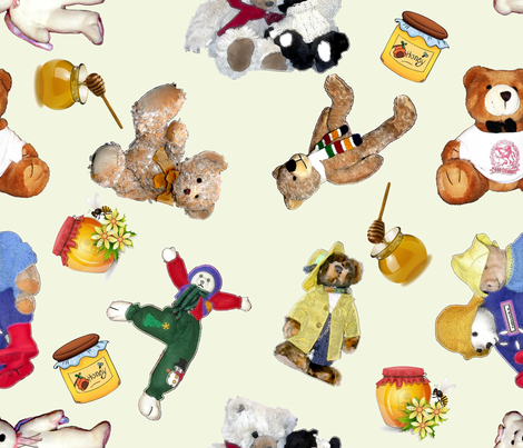 Even Vintage Bears love Honey-biggest fabric by koalalady on Spoonflower - custom fabric