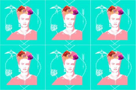 Frida Kahlo (mint) CUSHION COVER fabric by nouveau_bohemian on Spoonflower - custom fabric