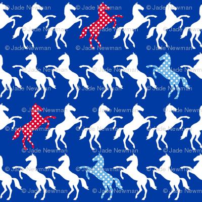 HorseBlueRedCheckedColours