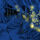 Fireflies in the woods - print