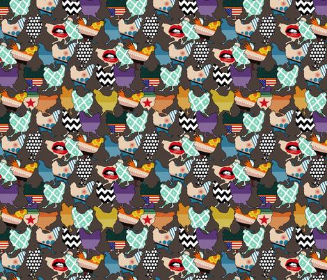 Cincinnati Chickens small fabric by scrummy on Spoonflower - custom fabric