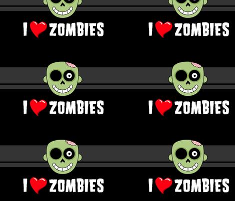 I <3 Zombies fabric by tonileigh_hall on Spoonflower - custom fabric