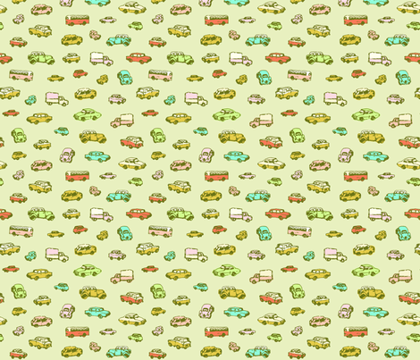 Little Retro Cars | Green Background fabric by imaginaryanimal on Spoonflower - custom fabric