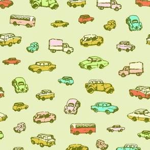 Little Retro Cars | Green Background