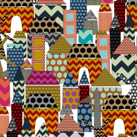 geo town tiny fabric by scrummy on Spoonflower - custom fabric