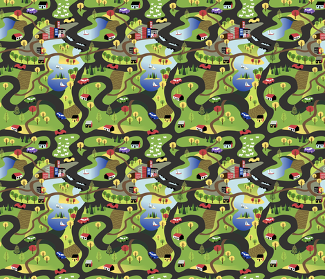 Countryside Drive Dark Roads fabric by vinpauld on Spoonflower - custom fabric
