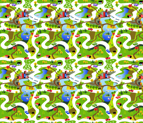 Countryside Drive fabric by vinpauld on Spoonflower - custom fabric